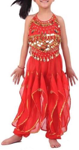 BellyLady Kid Children Belly Dance Costume Harem Pants Halter Top Sets Red product image