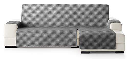 JM Textil Copridivano Salvadivano Chaise Longue Elena, Protezione Imbottita per divani Bracciolo Destro. Dimensione -240cm. Colore Grigio 06 (Visto di Fronte)