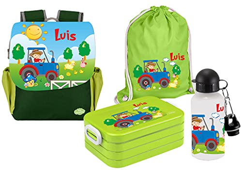 Mein Zwergenland | Personalisertes Kindergartenrucksack-Set | Kinderrucksack, Lunchbox Maxi, Turnbeutel aus Baumwolle, Trinkflasche Happy Knirps Next Print mit Name | Grün | Traktor