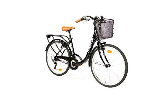 Moma Bikes City Classic 26- Bicicleta Paseo, Aluminio , Cambio Shimano TZ-50 18 vel., Negro