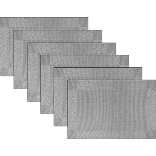 BECHEN Placemats Vinyl Twill Weave Heat-Resistant Table Mats Washable Kitchen Placemats for Dinig Table Set of 6 (Grey)