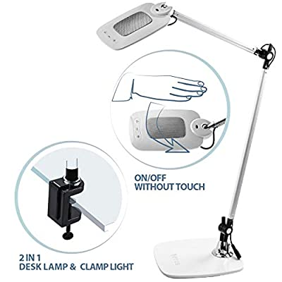OTUS LED Desk Lamp with Gesture Control – Motion Sensor, Touchless Reading Light – Activates with One Hand Wave – Tall, 360-Degree Adjustable Design with Multiple Color and Brightness Modes