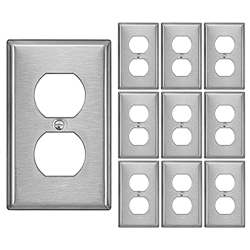 [10 Pack] BESTTEN Duplex Receptacle Metal Wall Plate, Stainless Steel Material, 1 Gang Standard Industrial Stainless Steel Outlet Cover, Durable Corrosion Resistant, Brushed Finish, Silver