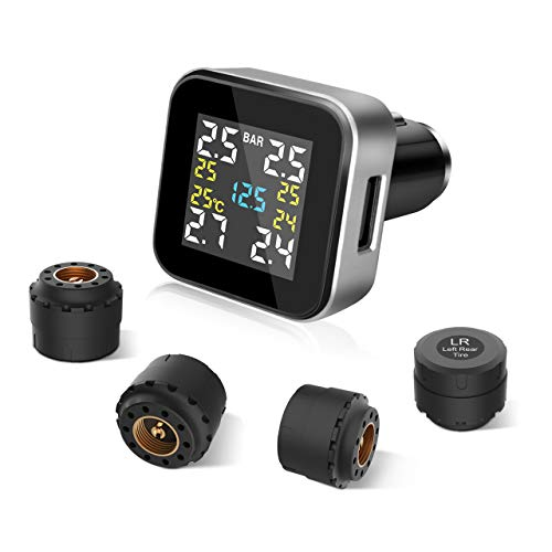 Tymate Tire Pressure Monitoring System-Full-Color Screen Design, 6 Alarm Modes, CLA Charging Method, Simple Installation and Setup, with 4 Advanced External Tpms Sensor (0-0.6 Bar/ 0-87 PSI)