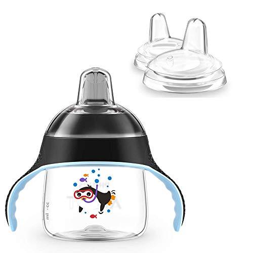 Philips Avent Pingouin Gobelet avec bec verseur à partir du 6 mois, 200 ml et 2 x bec de rechange Noir