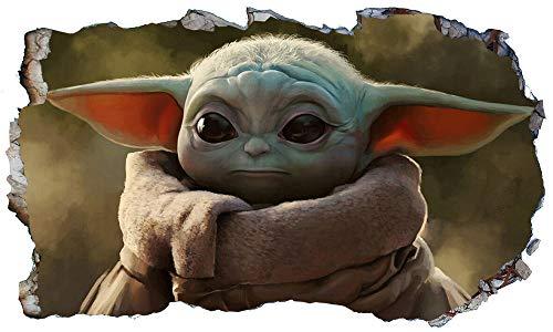 CSCH Wandtattoo Baby Yoda 3D Magic Window Wand Smash Art selbstklebendes Vinyl