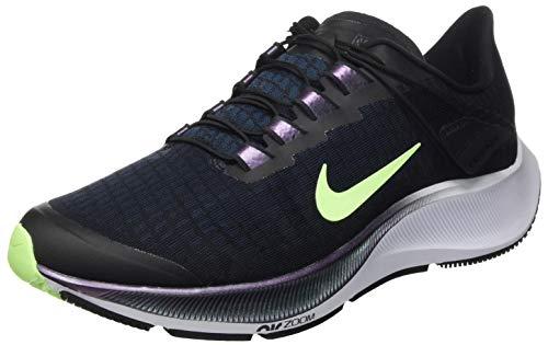 Nike Air Zoom Pegasus 37 Flyease, Chaussure de Course Homme, Noir/Vert Vert-Bleu Valérien, 45 EU