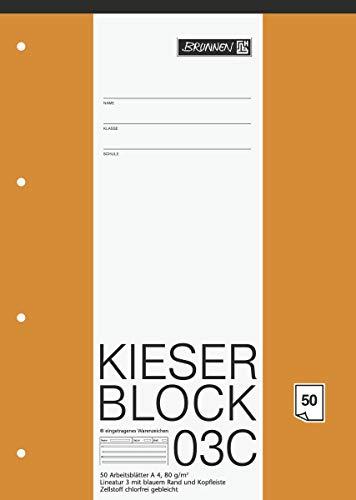 Brunnen 1042923 KIESER-Block Lineatur 3C (A4, 50 Blatt, Blanko, 80g/m², Klasse 3) - 2er Pack