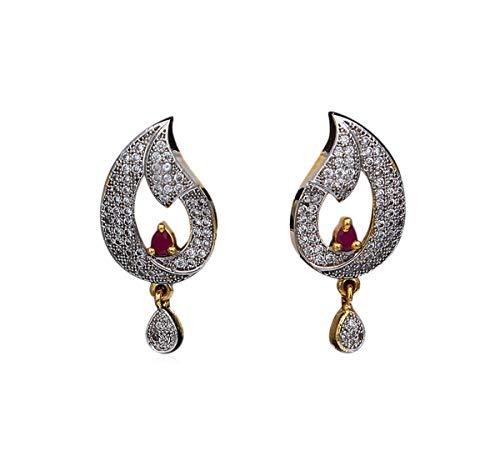 Jewelrygift Pendientes hechos a mano indios, chapados en oro, estilo casual, elegante,...