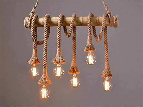 icase4u® Bambus Hanf Seil Leuchter Kronleuchter vintage retro lamp Innenleuchten Weinleselampe (lichtquelle nicht enthalten) [Energieklasse A+] (6 Flammige)