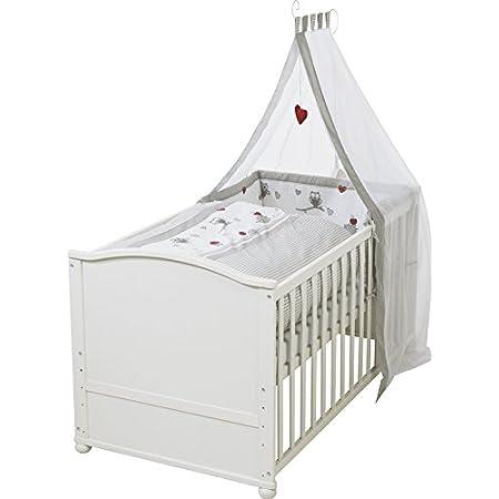Baby Delux Babybett Komplettbett umbaubar Juniorbett wei/ß 140x70 mit mehrteiligem Bettset Elefant