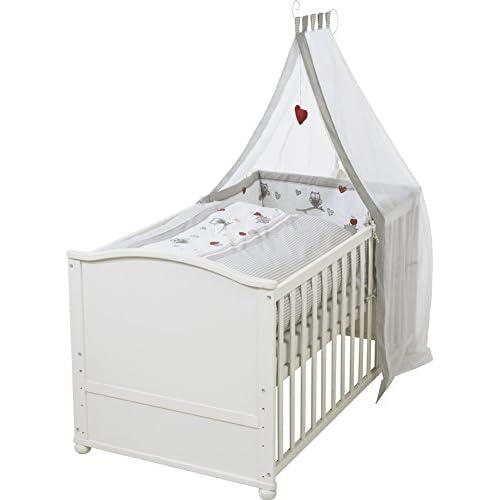 BabyBett Gitterbett Komplett Set Kinderbett Matratze 70x140 UMBAUBAR 2in1 ROSA!