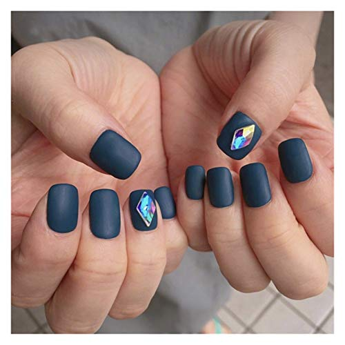 RUNGUANG LIGHTS WEIHJ-N 24pcs Blue Colorful Shaped Drill False Nails With Glue Frosted Finished DIY Short Size Full Cover Square Press On Nails