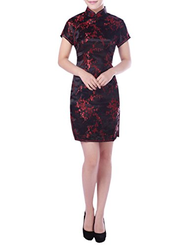 XueXian(TM) Mujer de Elegente Qipao de Estilo China con Furcal(China XL/EU 40,negro)