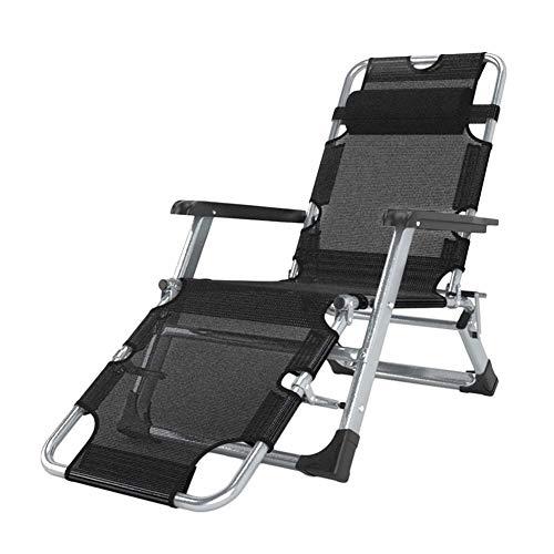 Liegestuhl Schwerelosigkeit Patio Klappstuhl Camping Tragbaren Stuhl Gartenstuhl Unterstützung 200 kg (Color : Black)