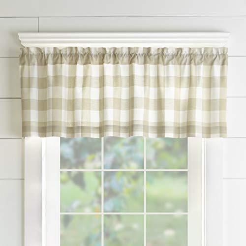 "Elrene Home Fashions Farmhouse Living Buffalo Check Window Kitchen Valance, 60"" x 15"" (1, Tan/White"