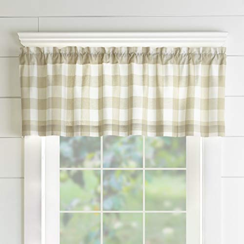 Elrene Home Fashions Farmhouse Living Buffalo Check Window Kitchen Valance,...