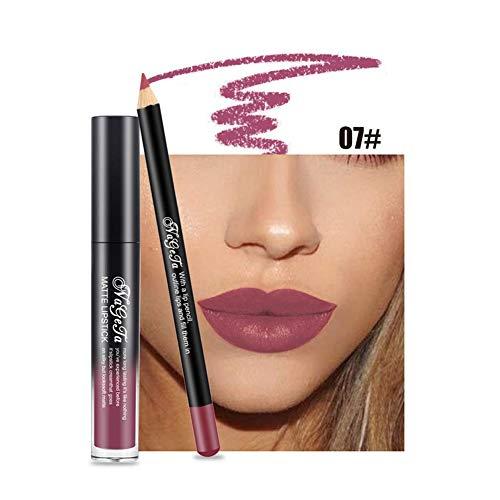 Xiton 2PCS / SET brillo de labios Perfilador Set lápiz labial duradero largo mate impermeable líquido del lustre lápiz de labios Labios Cosméticos Kit Sin decoloración durante todo el día (7)