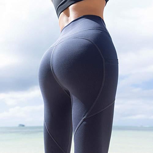 Yoga legging voor dames hoog,Peach heupen fitnessbroek, strakke strakke sneldrogende trainingsbroek-Navy blue_XL, Niet-doorschijnende stretchy legging met hoge taille voor meisjes
