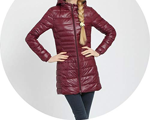 Winter Long Coat Women Down Coats Jackets Long Sleeve Elegant Duck Down Slim,Wine Red,6XL
