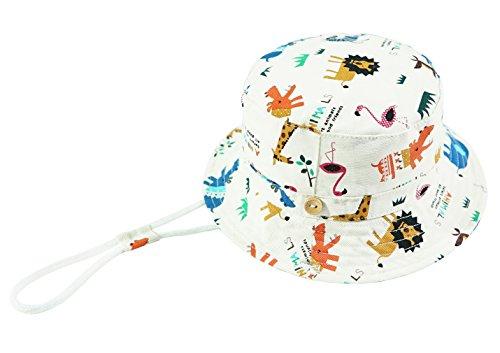 Foruhoo Baby Sonnenhut Kinder Hut, Sommerhut Mütze for Jungen Mädchen mit Verstellbar Kordelzug (54cm / 4-8 Jahre,Zoo weiß)