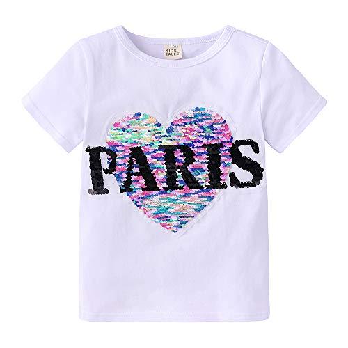 NCTCITY Niñas Búho T-Shirts Patrón del Corazón Reversible Lentejuelas Brillantes Camisetas de Manga Corta de Verano Cuello Redondo tee Tops Estampado Camisa Suelta Casual para Bebé Niños