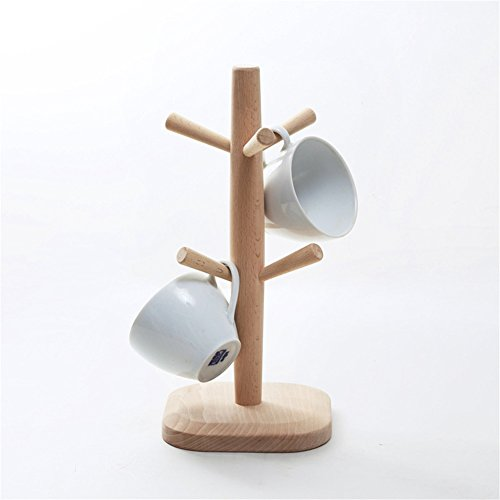 Simonshop Wood Mug Tree Stand Holder Rack Mugs and Cups Storage Holder with 6 Hooks (Style A)
