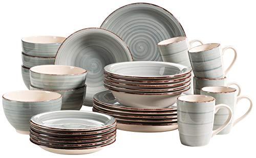MÄSER 931612 Bel Tempo II 30-teiliges Vintage Geschirr Set für 6 Personen, handbemaltes Keramik Kombiservice in Blau, Steingut