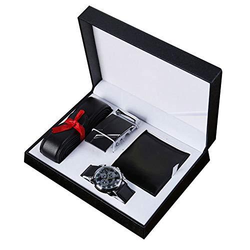 ZAK168 Coffret cadeau pour homme 3 pièces montre à quartz en cuir synthétique + ceinture + portefeuille + coffret cadeau pour la Saint Valentin, anniversaire, père, ami