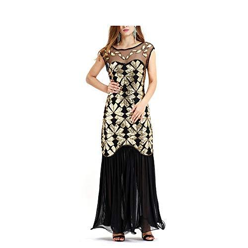 Jtoony Damen Kleider Frauen Pailletten Perlen Gatsby Flapper Kleid Vintage Abend Lang Ballkleid Homecoming Mesh Maxikleid Kostüm Kleid Club Cocktail Party Kleid (Farbe: Gold, Größe: XXL)