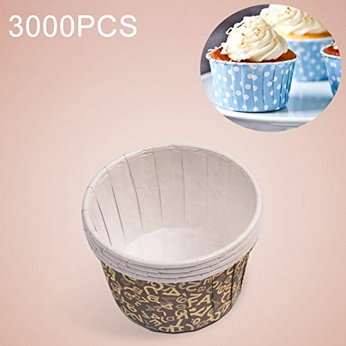 Fantastic Prices! QGT Food Molds 3000 PCS English Letter Pattern Round Lamination Cake Cup Muffin Ca...