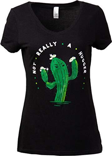 Not Really a Hugger | Funny Grumpy Sarcastic Sarcasm Bad Attitude for Mom Grandma Women T-Shirt-(Vneck,L) Black