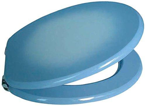 MSV 140011 - Asiento de inodoro (acero inoxidable y madera DM, 43,5 x 37,5 x 1,8 cm), color azul
