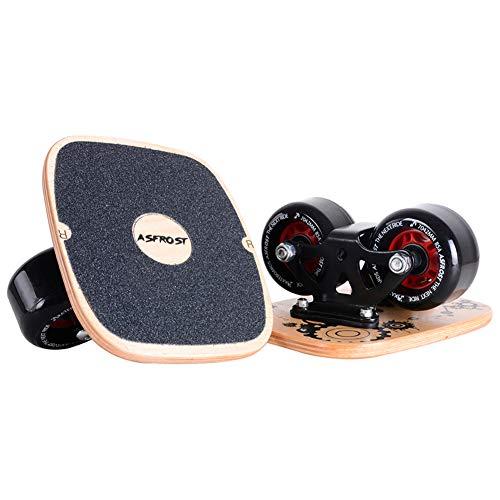 AsFrost Portable Roller Road Drift Skates Plate with Cool Maple Deck Anti-Slip Board Split Skateboard with PU Wheels High-end Bearings (Single Pattern)