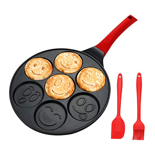 Kids Pancake Griddle Pan Smile Face Pancake Mold Nonstick Grill Pan Mini Blini Pancakes Mold for Children 10 Inch With Silicone spatula amp Silicone Brush