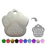 Iberiagifts - Placa en Forma de Huella para Mascotas Medianas-Grandes Chapa Medalla de identificación Personalizada para Collar Perro Gato Mascota grabada (Plateado)