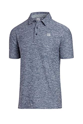 Three Sixty Six Golf Shirts for Men - Dry Fit Short-Sleeve Polo, Athletic Casual Collared T-Shirt Blue
