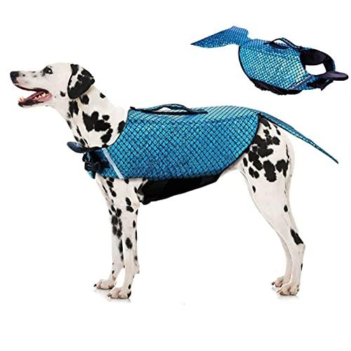 ROZKITCH Dog Life Jacket Mermaid Fashion Floatation Vest Doggy Lifesaver Pet Puppy Preverver Doggies Safety Device Small Medium Large Dogs at Pool Beach Boating Blue Small