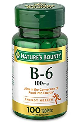Nature's Bounty Vitamin B-6 Supplement, Supports Metabolism and Nervous System Health, 100 mg, 100 Count