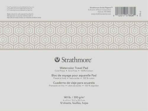 Strathmore 500 Series Watercolor Travel Pad, Glue Bound, Cold Press, 6' x 8', 12 sheets, White