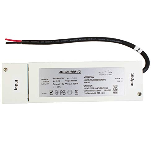 LEDupdates - Triac Dimmable LED Driver, ETL 100v-130v to 12v 100w DC Constant Voltage Junction box Enclosed Power Supply for LED Strip light Compatible with Lutron Leviton AC Wall Dimmer Control
