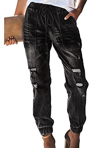 WXMSJN Pantalones Casuales De Mujer con Jeans Rasgados Y Cintura EláStica con CordóN