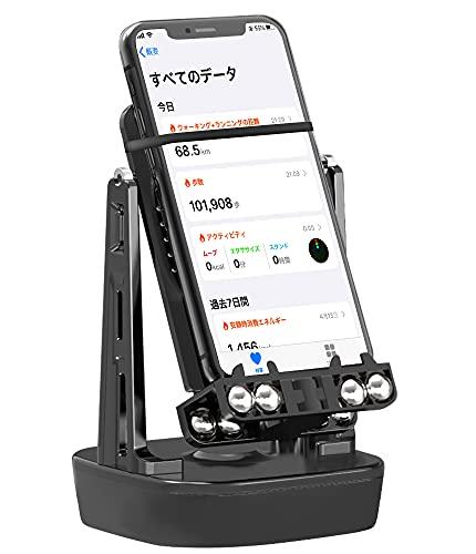 【2021新型】 WiTwo 小さいな音型 ポケモンgo 歩数 ポケモンgo 振り子 回転スイング スマホ 振り子 自動で歩数を稼ぐ 携帯電話自動スイング 中華振り子 スマホスタンド USB給電 2台同時 日本語説明書付 (黑)