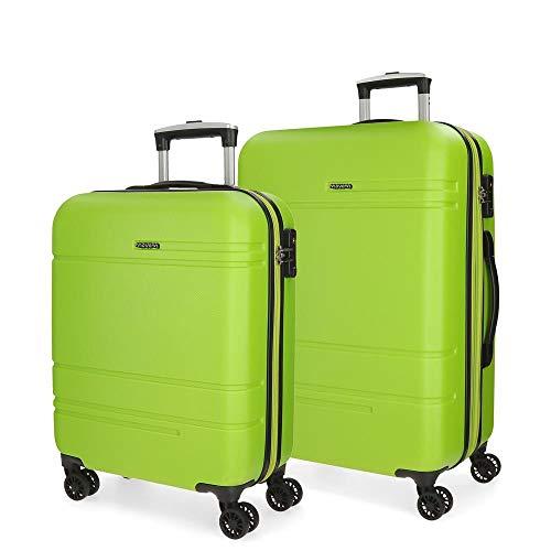 Movom Galaxy Juego de Maletas Verde 55/69 cms Rígida ABS Cierre TSA 108L 4 Ruedas Dobles Equipaje de Mano