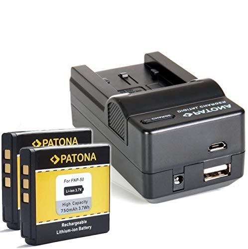 Bundlestar Akku Ladegerät 4 in 1 inkl Ladeschale für Fuji NP-50 NP-50A + 2x PATONA Ersatzakku für Fuji NP-50 NP-50A passend zu -- Fujifilm Finepix XF1 X10 X20 F900EXR F850EXR F800EXR F770EXR F750EXR F660EXR F600EXR F550EXR F500EXR F300EXR F70EXR -- Real 3D W3 -- XP200 XP150 XP100 -- NEUHEIT mit Micro USB Anschluss !