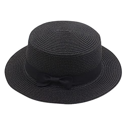 Sombrero de Playa de Verano al Aire Libre para Mujer, Sombrero de Pescador Informal de Lado Ancho para Mujer, Gorro clásico de Paja con Lazo para el Sol