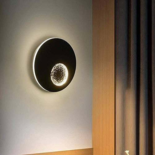 YUMUO Lámpara de pared LED redonda negra de planeta, luz de tres tonos, luz decorativa para sala de estar, dormitorio, mesita de noche, fondo de TV, pasillo, 23 x 4,5 x 23 cm