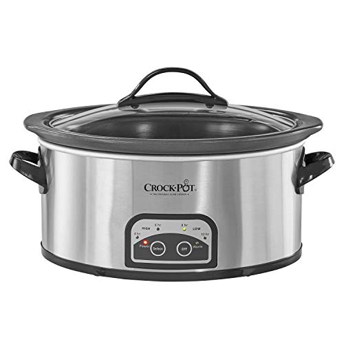 Crock Pot Smart Pot Slow Cooker with Easy to Clean Stoneware | Programmable Crock Pot | 6 quart | Stainless Steel