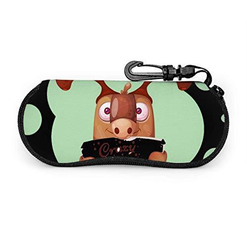 sherry-shop Brillenetui Lustiges süßes Papierhirsch-Zeichen Sonnenbrillenetui Weiches ultraleichtes tragbares Reißverschluss-Brillenetui