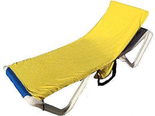 YISAMA Mikrofaser Strandtuch Für Gartenliege, Liegenbezug Strandliege, Strandhandtuch Mit Taschen, Sonnen Baden Schnell Trocknende Tücher Farbe Gelbe